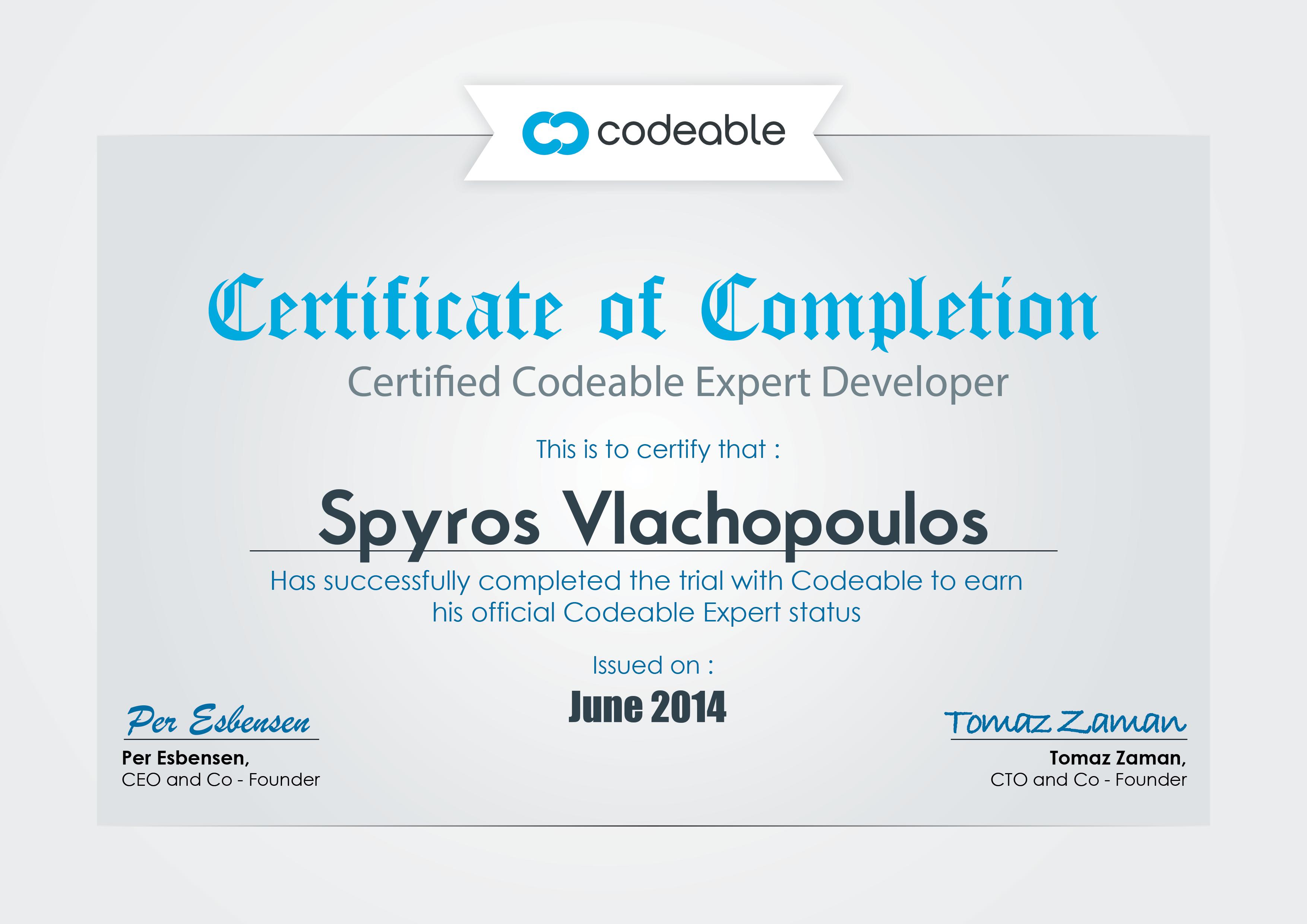 Spyros Vlachopoulos, Certified Codeable Expert Developer